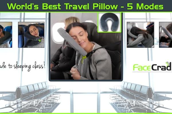 有 5 種模式的開闔式旅行頸枕 FaceCradle,經濟艙立馬升級「頭倒」艙